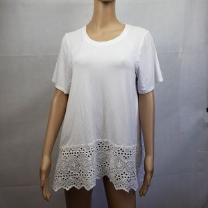 🔵5/$50🔵 Miss Love White Blouse with Lace Size S